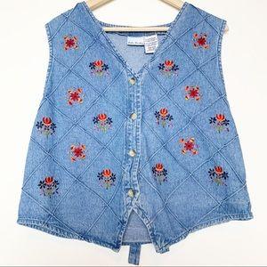 Vintage Denim Floral Embroidered Vest